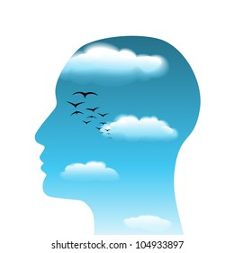 Surrealistic head with clouds, vector