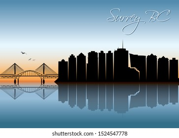 Surrey BC skyline - British Columbia, Canada - vector illustration