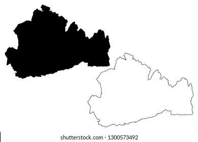 Surrey (United Kingdom, England, Non-metropolitan county, shire county) map vector illustration, scribble sketch Surrey map