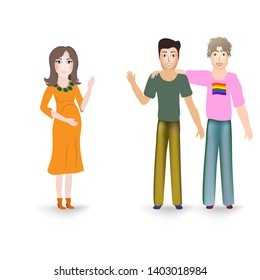 Surrogate mother for a homosexual male family couple. Marriage of gay parents expects the appearance of their child in a pregnant woman. Pregnant surrogate woman and two gay guys on white background.