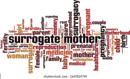 Surrogate mother word cloud concept. Collage made of words about surrogate mother. Vector illustration