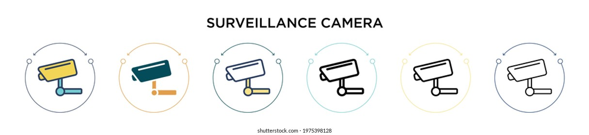 Surveillance camera icon in filled, thin line, outline and stroke style. Vector illustration of two colored and black surveillance camera vector icons designs can be used for mobile, ui, web