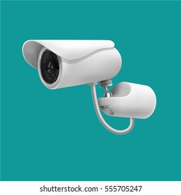 Surveillance camera. Video camera for external and internal surveillance. White. Isolated. Modern.