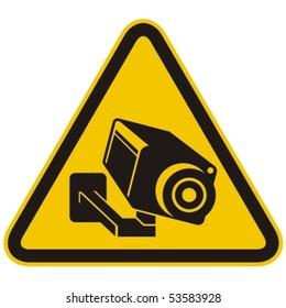 Surveillance camera warning sign. Vector illustration.