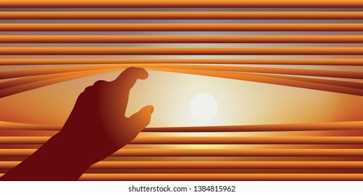 Surveillance concept with a hand raising the blades of a Venetian blind to look out the window of the sky on a sunny day.