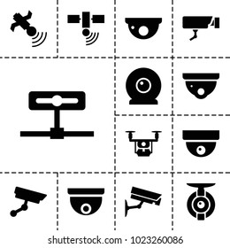 Surveillance icons. set of 13 editable filled surveillance icons such as security camera, medical drone, satellite