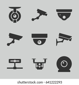 Surveillance icons set. set of 9 surveillance filled icons such as security camera, security camera