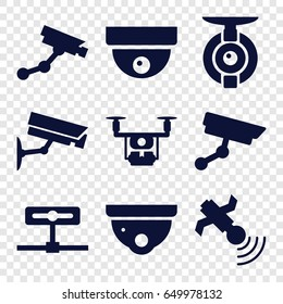 Surveillance icons set. set of 9 surveillance filled icons such as security camera, security camera, satellite