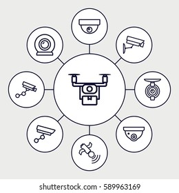 surveillance icons set. Set of 9 surveillance outline icons such as security camera, Security camera, satellite