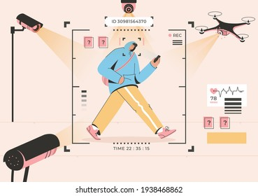 Surveillance technology concept. Face recognition of man walking street. Cctv cameras, drones, monitoring system scanning, identify and collect personal information. Vector character illustration