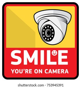 Surveillance video camera sign, vector illustration
