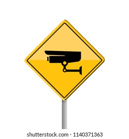 surveillance yellow sign