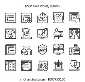 Survey, bold line icons. The illustrations are a vector, editable stroke, 48x48 pixel perfect files. Crafted with precision and eye for quality.