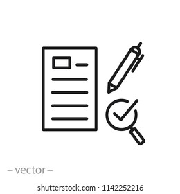 Survey brief or quiz icon, linear sign isolated on white background - editable vector illustration eps10