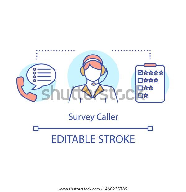 Survey Caller Concept Icon Operator Consultant Stock Vector (Royalty