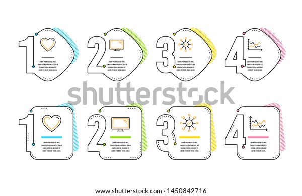 Survey Check Heart Monitor Icons Simple Stock Vector