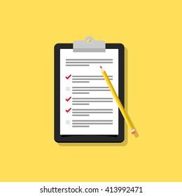 Survey / checklist flat design illustration