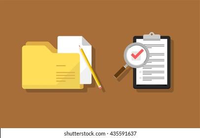 Survey, checklist and folder flat design icon set