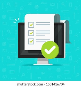Survey checklist form or complete task list on computer vector illustration, flat cartoon pc with checkmarks document or questionnaire report on screen, modern approved test or exam results isolated