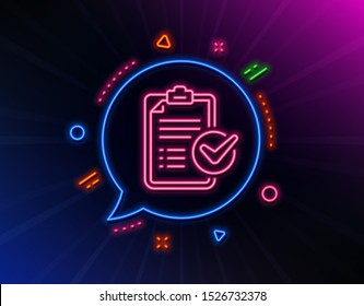 Survey checklist line icon. Neon laser lights. Report sign. Business review symbol. Glow laser speech bubble. Neon lights chat bubble. Banner badge with survey checklist icon. Vector