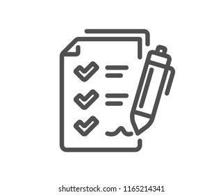 Survey Checklist line icon. Report sign. Business review symbol. Quality design element. Classic style. Editable stroke. Vector