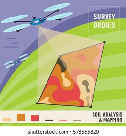 Survey drones analyzes the composition of the soil, and monitoring of plants growth. Precision Agriculture technology. Vector illustration EPS10