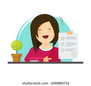 Survey or exam form paper sheet in hand of pupil girl, answered quiz checklist and success result assessment, happy person showing education test, questionnaire document vector flat cartoon clipart