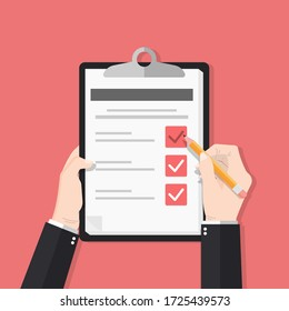Survey form with pencil vector illustration. Hand holding and fill check list on paper sheet clipboard. quiz form idea, interview assessment, passed questionnaire, isolated on color background.