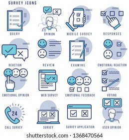 Survey Icon Illustration Set,editable stroke