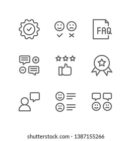 Survey icon set including guarantee, review, like, dislike, faq, testimonial, rating, recommendation, customer, feedback, satisfaction