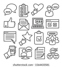 Umfrage-Linien-Symbole auf weißem Hintergrund