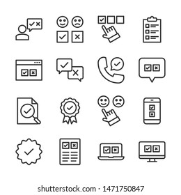 Survey line icons set vector illustration. Contains such icon as application, evaluation, review, voting and more. Editable stroke