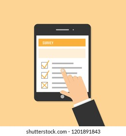 Survey online on application feedback customer client digital screen touch finger device technology smart list checklist flat sign rating research internet checkbox question icon finger touch tick