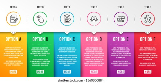 Survey progress, Touchpoint and Article icons simple set. Business targeting, Rfp and Gingerbread man signs. Algorithm, Touch technology. Business set. Infographic template. 6 steps timeline. Vector