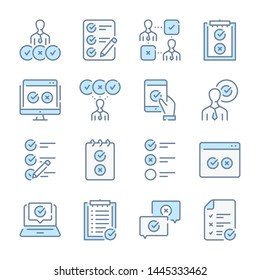 Survey, Quiz and Feedback report related blue line colored icons.