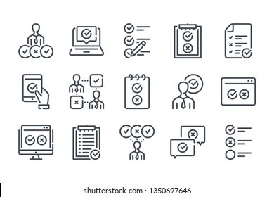 Survey related line icon set. Checklist vector linear icon collection. Quiz and feedback report outline icons.