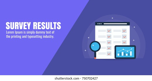 Survey report, On-line Survey, Feedback, Customer opinion flat vector illustration with icons