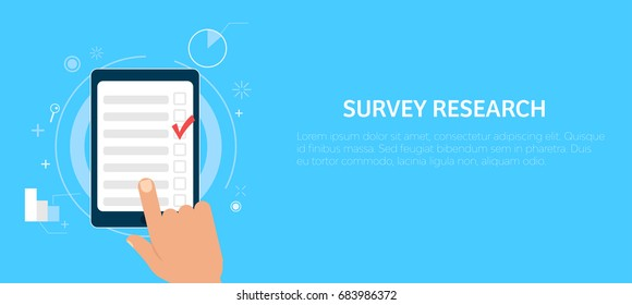 Survey research. Make a choice on the tablet. Vector flat illustration