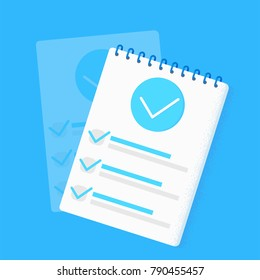 Survey research. Make a choice on the tablet. Checklist Templates. Notepad with a list and a pencil. Vector flat illustration