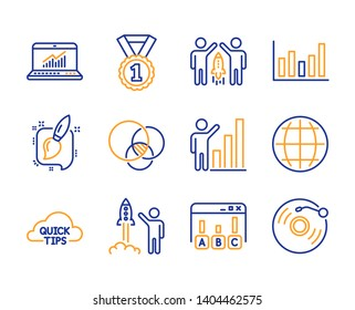 Survey results, Quick tips and Graph chart icons simple set. Painting brush, Partnership and Euler diagram signs. Best rank, Column chart and Online statistics symbols. Line survey results icon