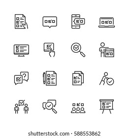 Survey or test icon set in thin line style