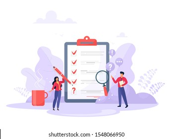 Survey vector illustration. Flat mini persons concept with quality test and satisfaction report. Feedback from customers or opinion form. Client answers understanding with professional research team