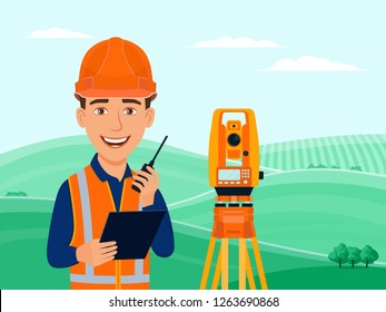 Surveyor, cadastral engineer, cartographer, cartoon smile character, theodolite, total station, surveying equipment. Summer landscape with green hills, fields and trees. Vector flat illustration.