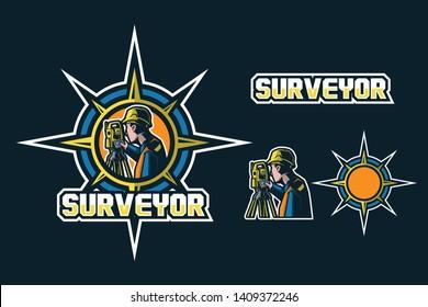 Surveyor Civil Engineers Mascot Logo Design