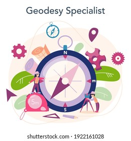 Surveyor concept. Geodesy science , land surveying technology. Engineering and topography equipment. People with compass and map. Vector illustration in cartoon style