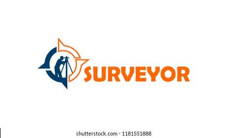 Surveyor Flat Orange and Navy Blue Logo