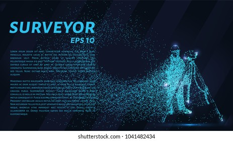 Surveyor of the particles. Surveyor consists of dots and circles. Vector illustration