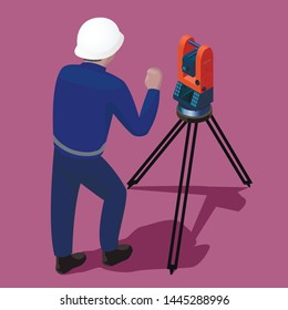 Surveyor work with total station theodolite.