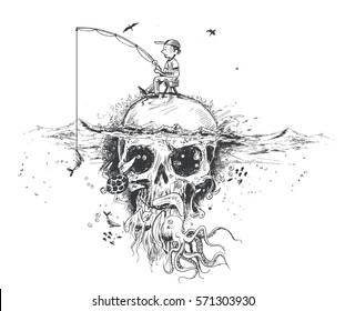 Survival fisherman sitting on Underwater skull, hunting for fish - Pirate Design poster. vector Illustration