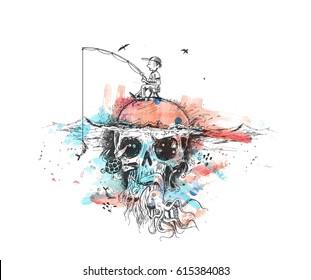 Survival fisherman sitting on Underwater skull, hunting for fish - Pirate Design poster. vector Illustration